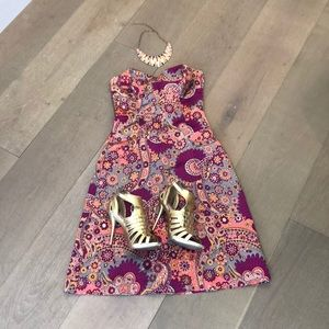 French Connection Strapless Floral Peacock dress